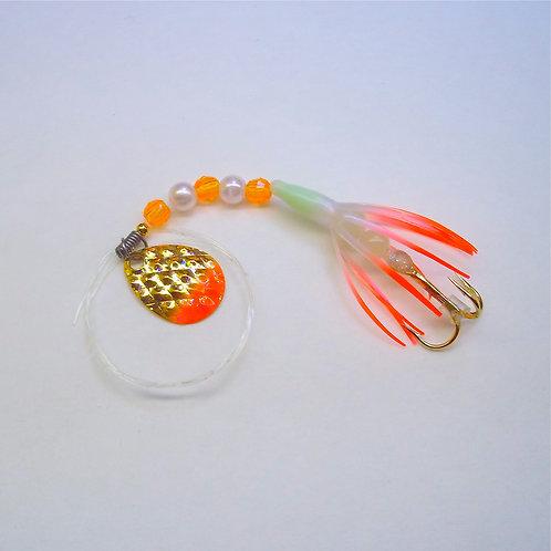 "UV Pearl & Orange Super Micro Spinner 1 3/8"""