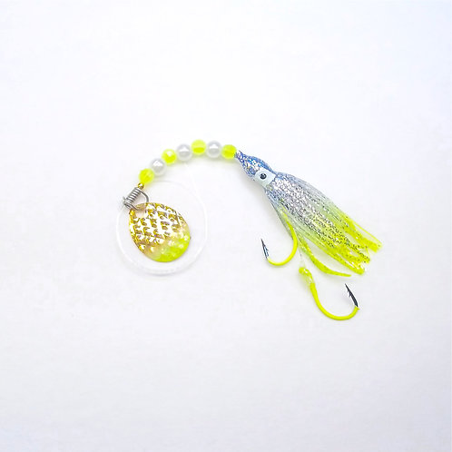 Silver Glitter Blue & Chartreuse Spinner 1 3/4 in.