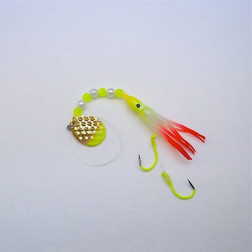 UV Pearl Chartreuse & Red Spinner 1 3/4 Inch