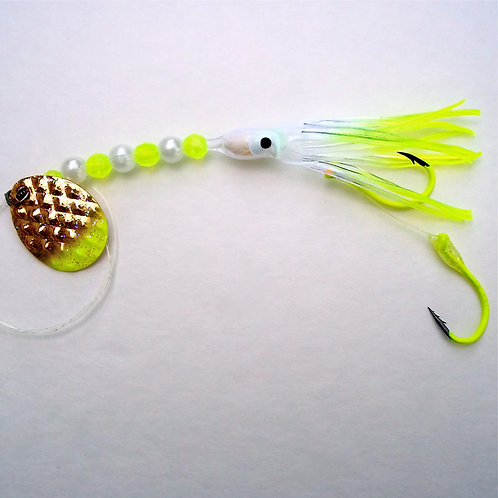 Clear & Chartreuse UV Spinner 1 3/4 Inch