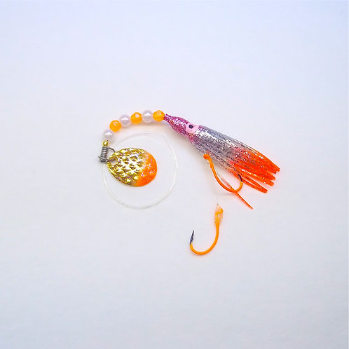 Silver Glitter Purple & Orange Spinner 1 3/4 Inch