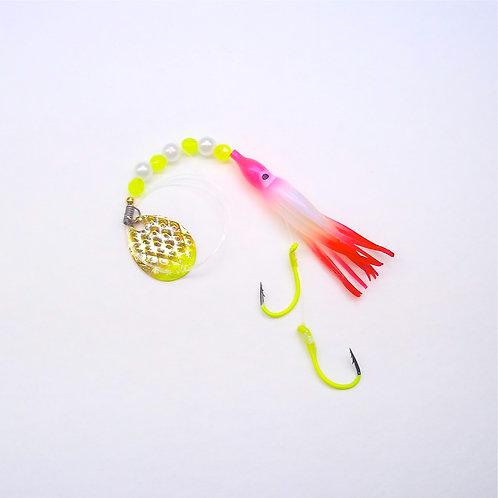 UV Pearl Pink & Red Spinner 1 3/4 Inch