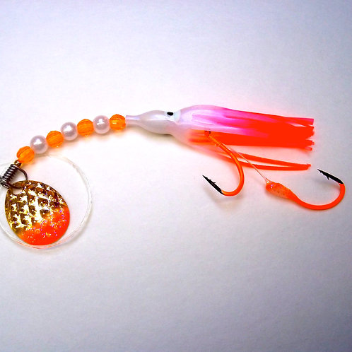 UV Pearl Pink & Orange Spinner 1 3/4 Inch