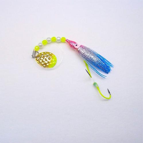 Silver Glitter Pink & Blue Spinner 1 3/4 Inch