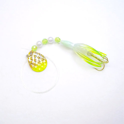UV Clear & Lime Super Micro Spinner 1 3/8""