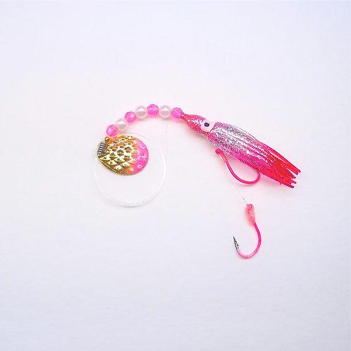 Silver Glitter Pink & Magenta Spinner 1 3/4 Inch