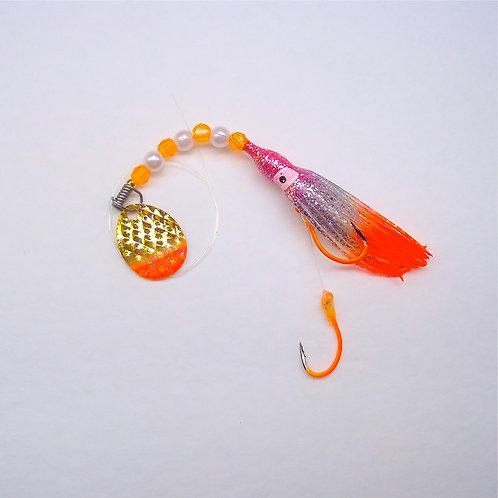 Silver Glitter Pink & Orange Spinner 1 3/4 Inch