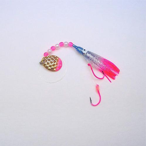 Silver Glitter Blue & Pink Spinner 1 3/4 Inch