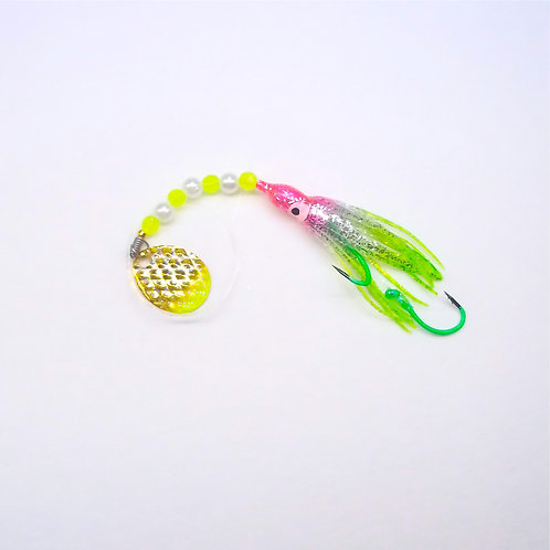 Silver Glitter Pink & Lime Spinner 1 3/4 Inch