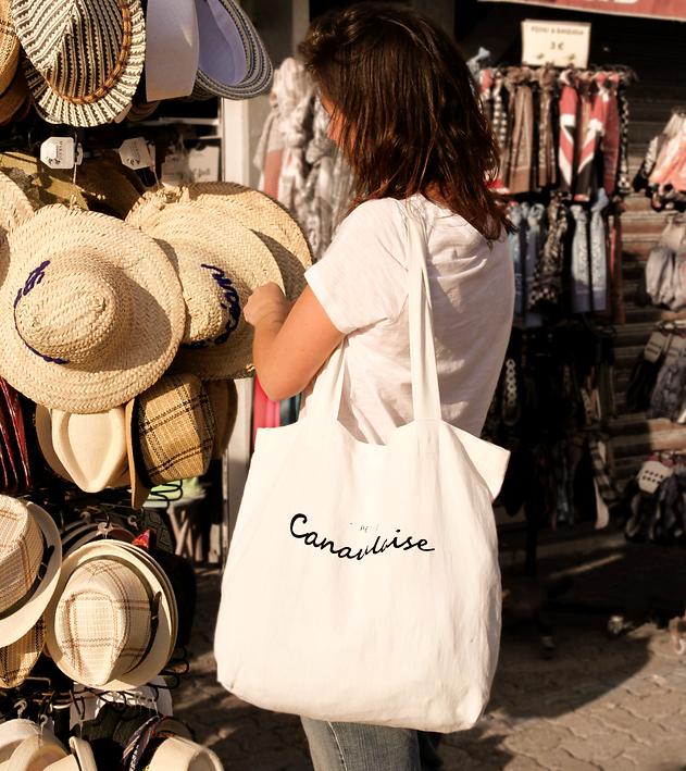 Tote bag, sac en toile fait main, Canaulaise