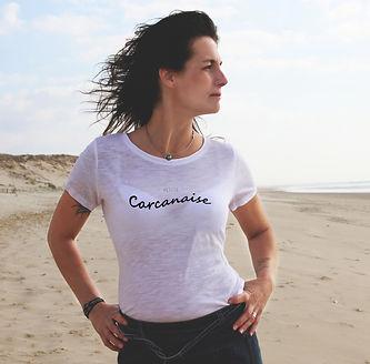 Tee-shirt bio femme petite Carcanaise, Carcans, sud ouest, tee shirt en coton 100 % bio