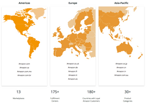 A map of Amazon's 13 International Marketplaces
