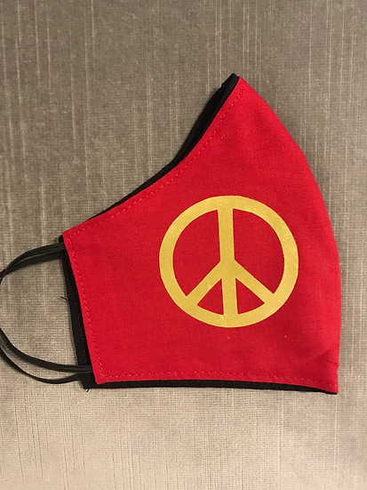 Gold Peace Sign on Red