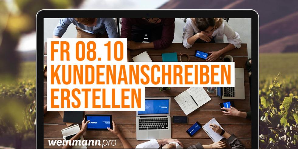 13:00 Uhr - 14:00 Uhr Kundenanschreiben erstellen in Weinmann pro (29,00 €)
