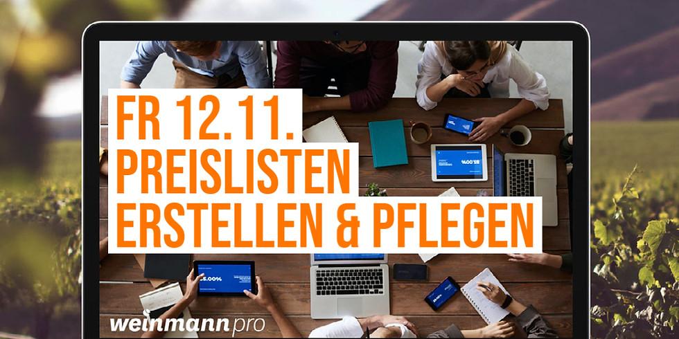13:00 Uhr - 14:00 Uhr Preislisten erstellen & pflegen in Weinmann pro (29,00 €)