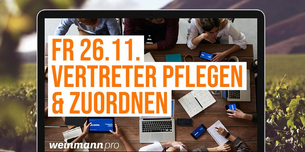 13:00 Uhr - 14:00 Uhr Vertreter pflegen und zuordnen in Weinmann pro (29,00 €)