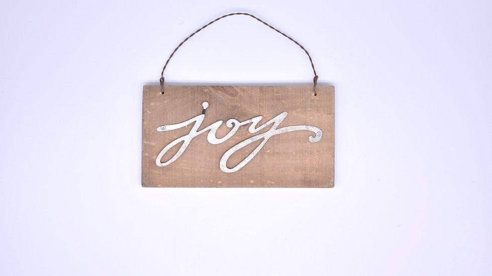 Joy Wooden and Metal Ornament