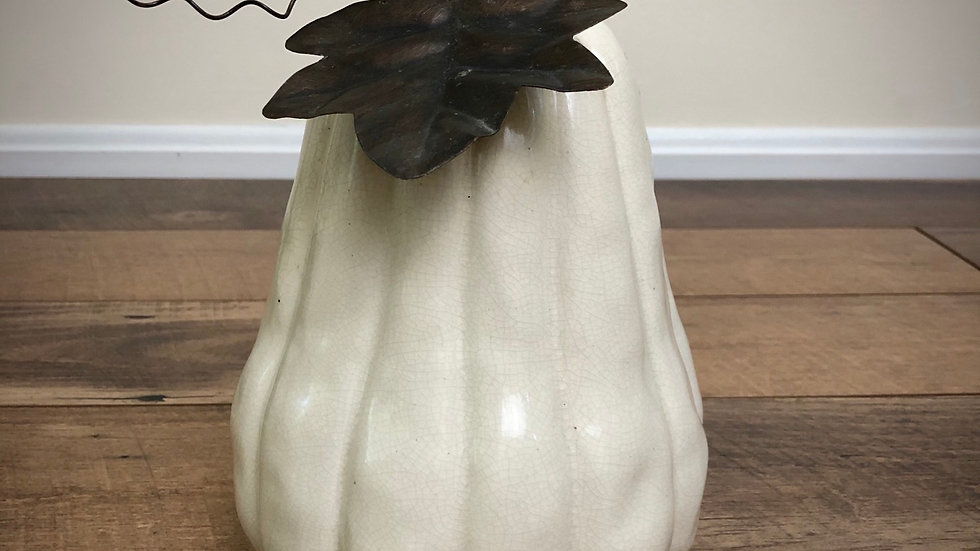 Ceramic Off White Pumpkin with Metal Leaf and Vine