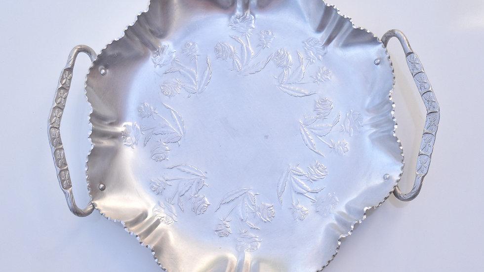 Decorative Aluminum Etched Tray w/Handles