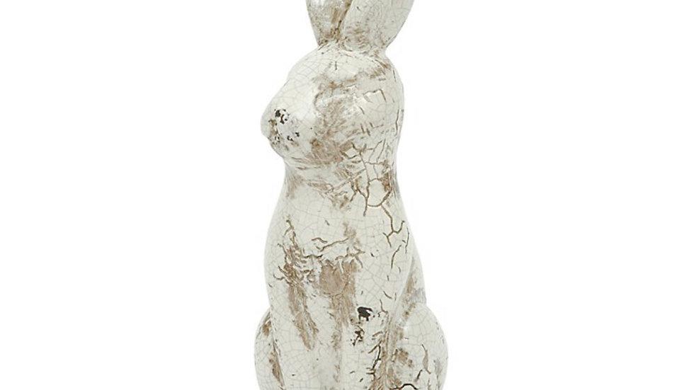 White Distressed Ceramic Rabbit
