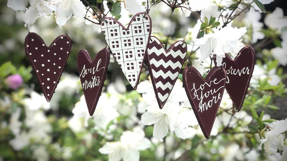 Wooden Heart Ornament Set of SIX