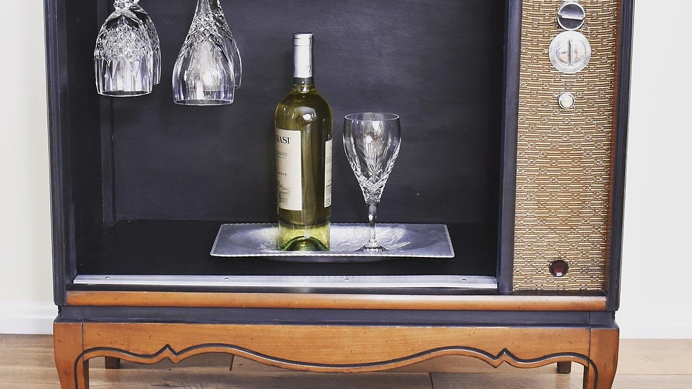 Upcycled Salvaged Vintage TV-Wine Bar