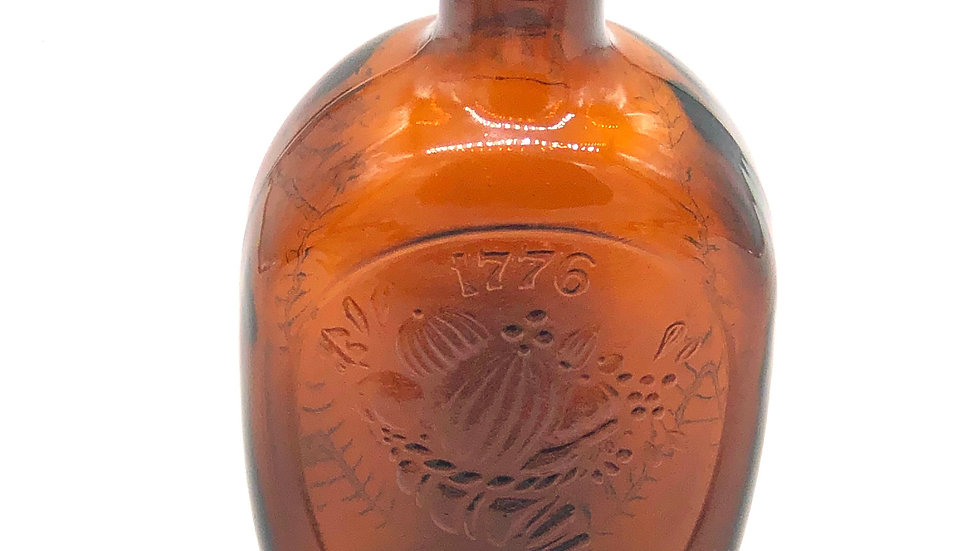 1776 Harvest Cabin Amber Collectible Bottle