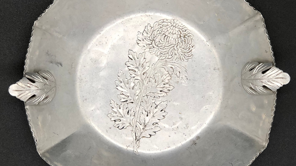 Etched Chrysanthemums Small Dish - Artist Stamp