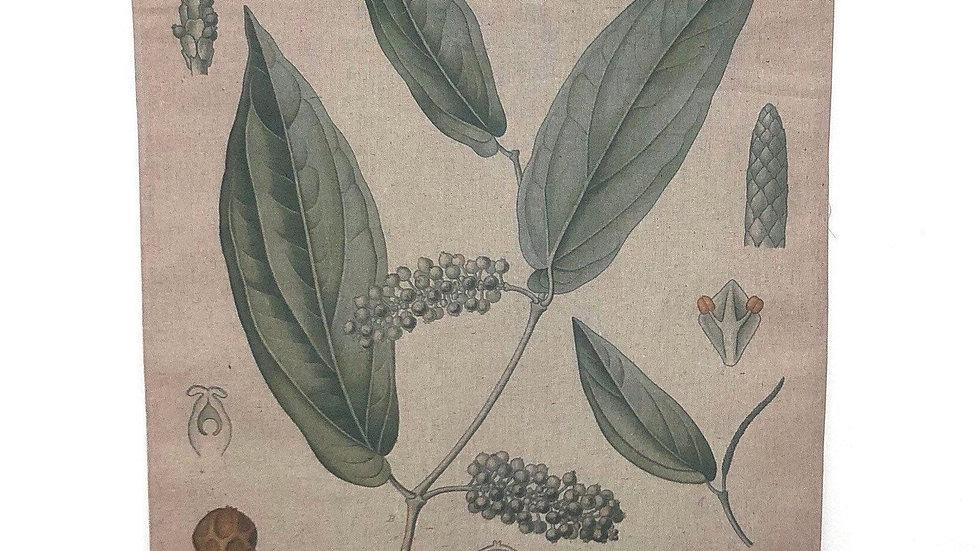 Linen Wall Decor Botanical Scroll Cubeba
