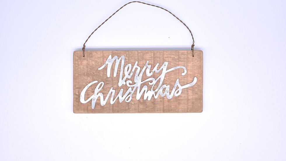 Merry Christmas Wooden and Metal Ornament