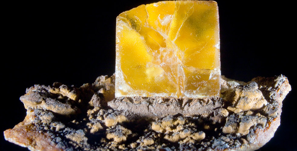 Rare Yellow Fluorite on what may be a Siderite matrix. An excellent, naturally self-standing piecefrom El Hammam, Khémisset