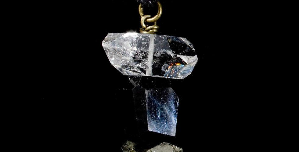 Stunning natural crystals of Pyrite Tourmaline & Quartz Crystal create elegant Crystal Wand Jewelry.