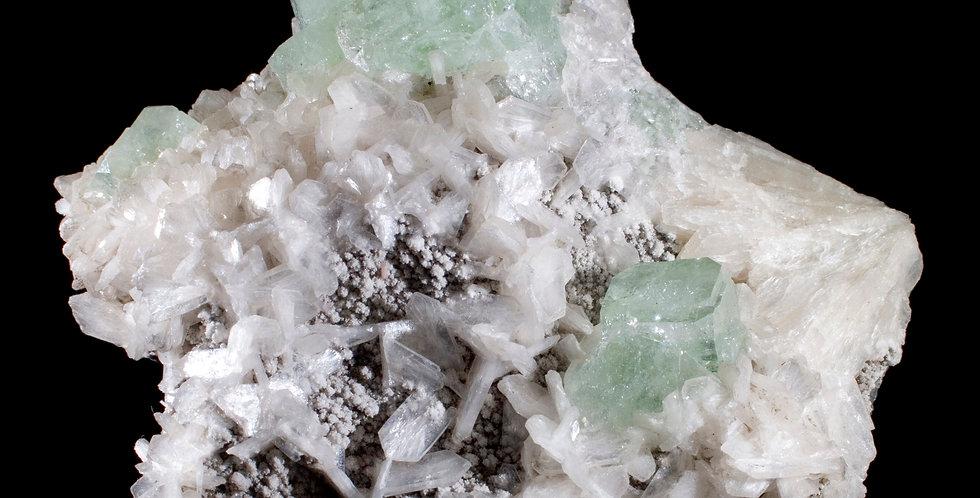 Cubic Green Apophyllite & White Stilbite on Chalcedony Studio Mineralia Earth Art Gallery Crystal Fine Mineral Specimen
