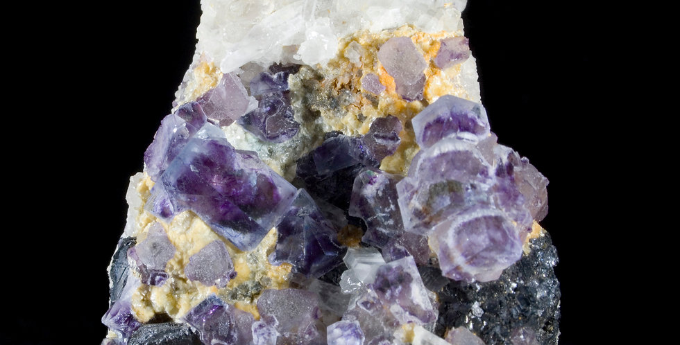 Color-zoned Purple Fluorite & Quartz, Yindu Mine, Inner Mongolia, China.