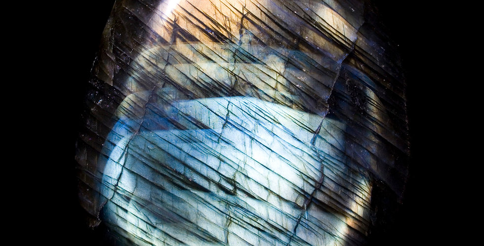 Two Toned Labradorite - 9.6 oz. Palm Stone. A fantastically iridescent hand polished Labradorite palm stone from Madagascar.