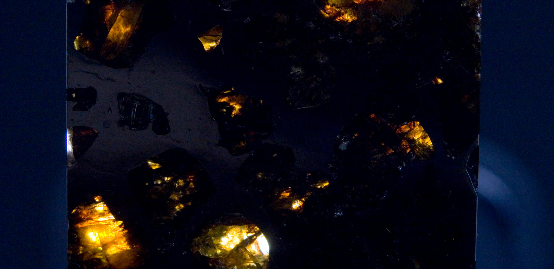 Imilac Pallasite Meteorite Backlit SMIM02