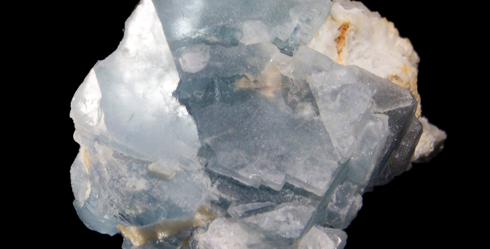 An exceptionally photogenic Fluorite from theYindu Mine, Inner Mongolia, China. A soft blue, porcelain like facet