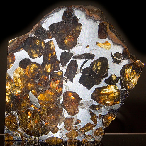 A 13 gram part-slice of the Pallasite Meteorite, Imilac featuring external fusion crust, evidence of its descent.