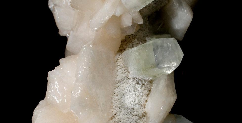 Stalactite of Chalcedony with Green Apophyllite & Stilbite Studio Mineralia Fine Mineral Specimen