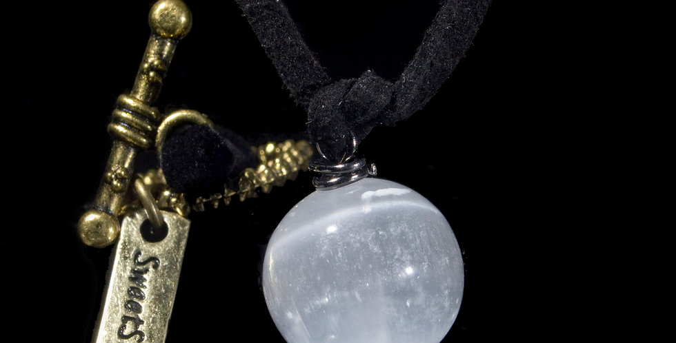 A lightweight and classic piece, a single sphere of Selenite suspended from simple yet elegant black brass-clasped cording.