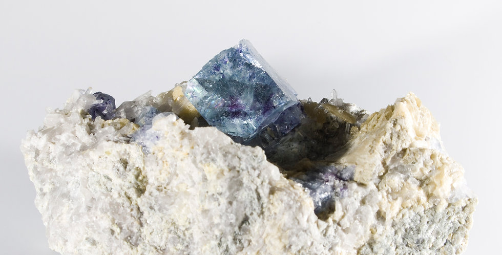 Aesthetically Perched Cubic Fluorite with Miniature Quartz on Matrix