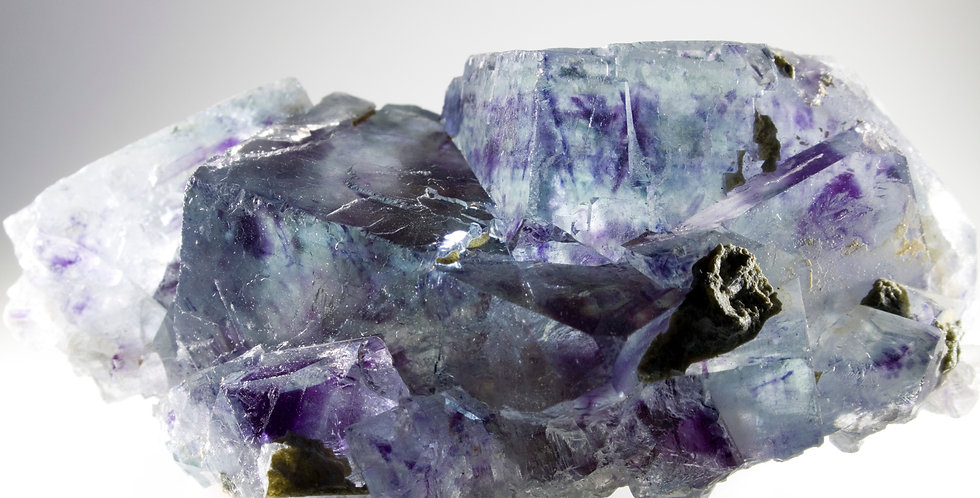 Intersecting Crystals of Clear, Blue, Color Zoned Fluorite