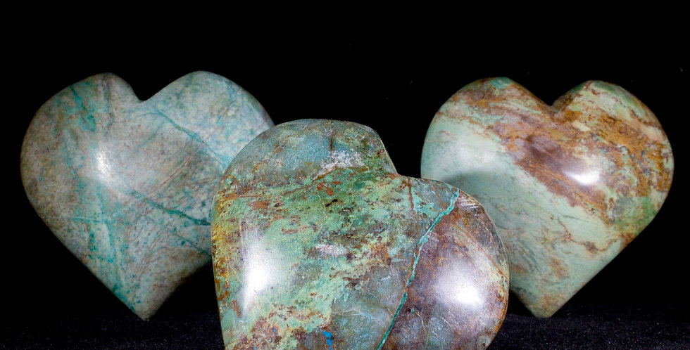 Chrysocolla, a beautiful blue-green stone referred to as Peruvian Turquoise due to it's similar hues of blue and complex vein