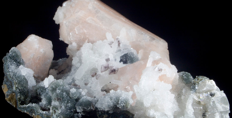 A complex multi mineral specimen on a dynamic base of Black Chalcedony with graceful bridges and arches of White Chalcedony f