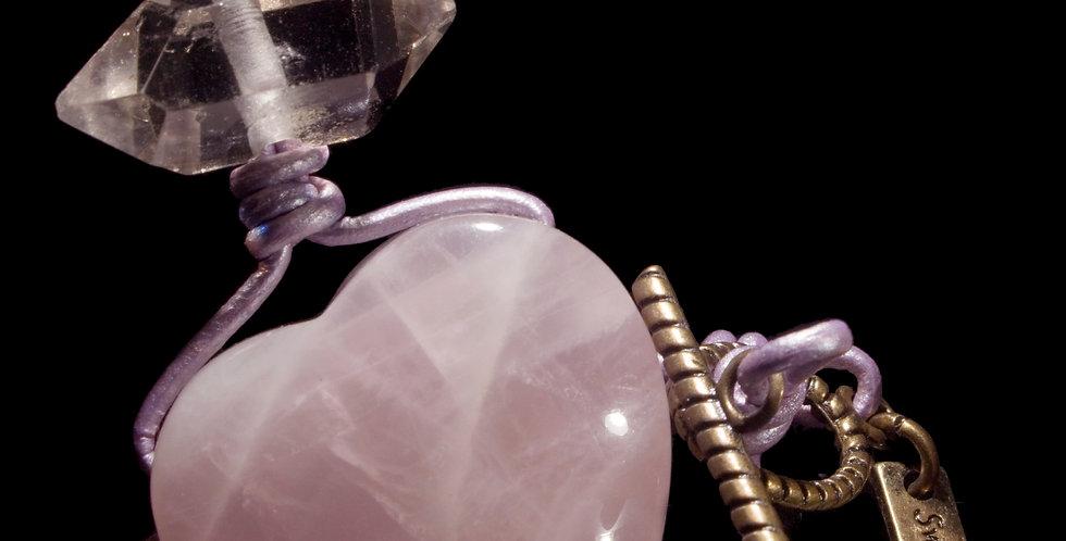 Rose Quartz Heart & Terminated Quartz Corded Necklace