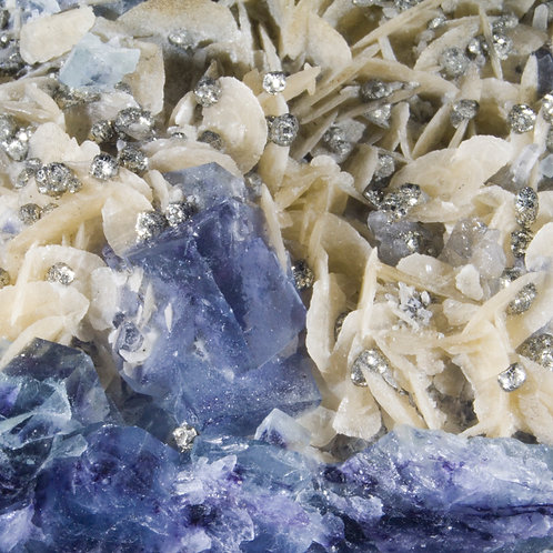 Spectacularly Complex Pyrite liberally sprinkled on wafer thin blades of Siderite accented by blue-purple cubic Fluorite
