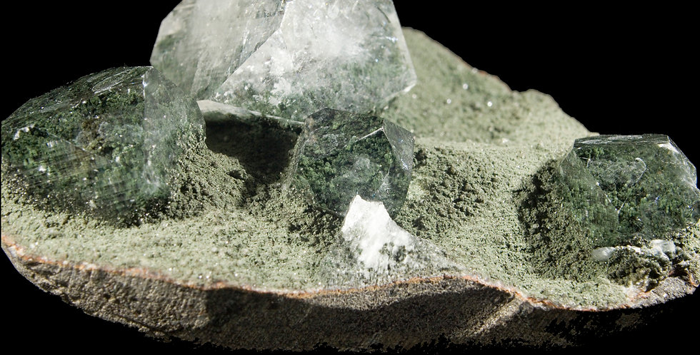 Apophyllite with Julgoldite onBasalt  Spectacularly clear Apophyllite has protected the contacted Julgoldite on its basalt