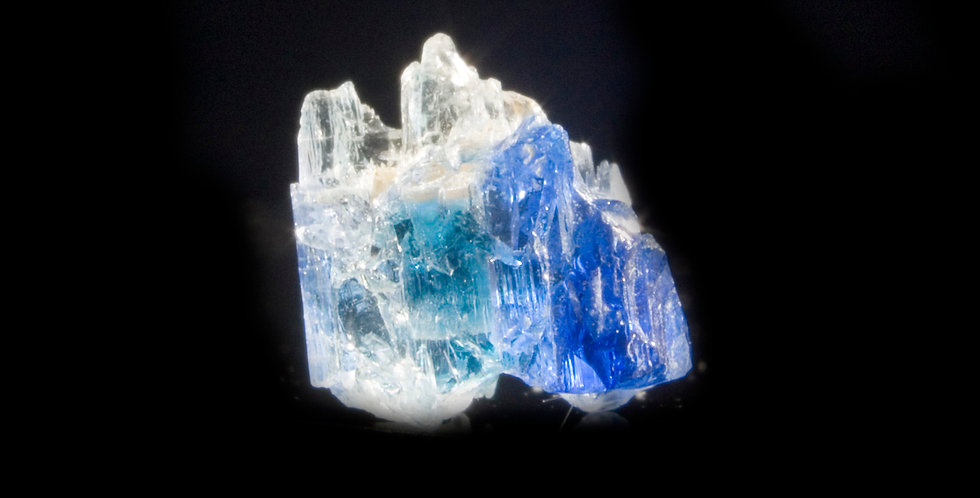 Jeremejevite. Erongo, Namibia. An exceptionally rare, stunningly blue crystal, this small piece exhibits three shades of blue