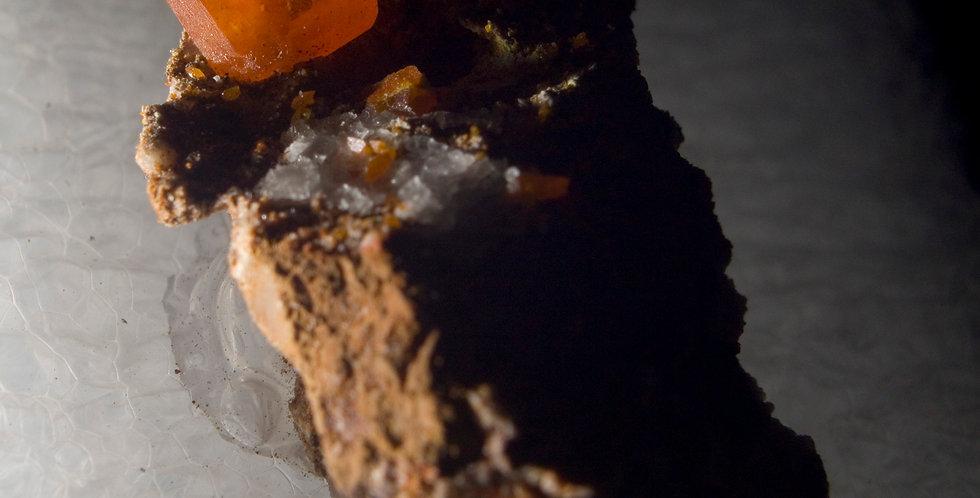 Wulfenite. Red Cloud Mine, La Paz County, Arizona, USA. Matrix Thumbnail