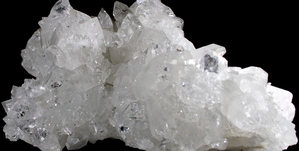 Displaying a full 6 inches wide this large, sparkling cluster of gemmy, clear and well-terminated Apophyllite crystals